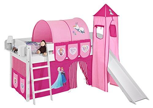 Lilokids Spielbett IDA 4105 Eiskönigin Rosa - Teilbares Systemhochbett weiß - mit Turm, Rutsche und Vorhang