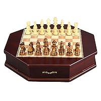 大人用の木製チェスセット、両端に引き出しが付いた八角形の手作りクラフトチェス、フランネルの裏地家族が集まるボードゲーム