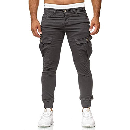 FRAUIT Pantaloni Uomo Cargo con Tasche Laterali Pantaloni da Lavoro Uomini Leggeri Pantalone Ragazzo Casual Elegante Slim Fit Pantaloni Jogging Running Allenamento Trekking