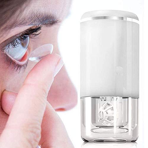 Tragbarer Kontaktlinsenreiniger, Ultraschall Automatische Reinigungsmaschine mit USB-Ladekabel, Turbinenrotation Schnelle Vibration Intelligente Kontaktlinsenreiniger Kit für Reisen