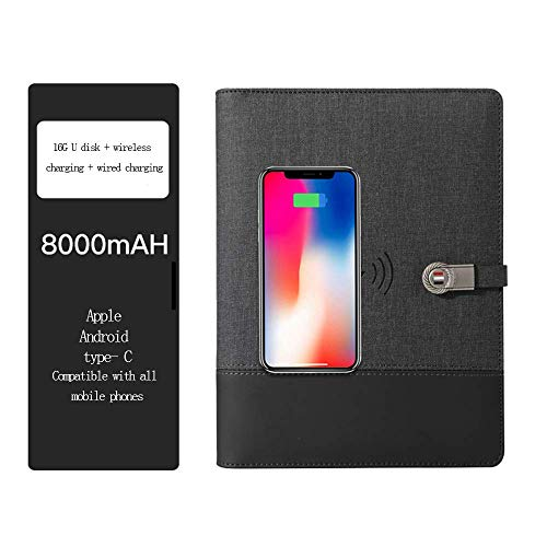 LIUDOU Business Wireless Charging Notebook Multi-Function with U Disk Power Notepad with Charging Treasure Loose-Leaf Book Creative Splicing A5 Book,Black