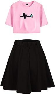 Landove TIK Tok Tracksuit Two Piece Women Crop Top and Skirt Set C02282TXDQ
