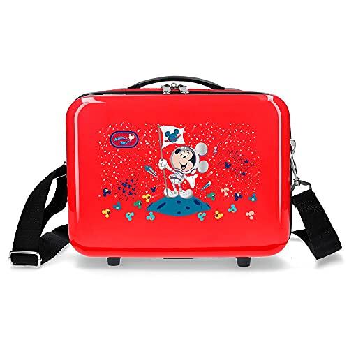 Disney Mickey on The Moon Neceser Adaptable con Bandolera Rojo 29x21x15 cms Rígido ABS 9,14L