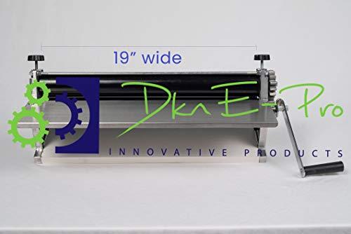 DKN 48,3 cm Pizzateig-Roller mit Handkurbel – Nudelmaschine, Teigschablone mit Antihaft-Rollen mit Dickenregulierung – solider Stahl und Aluminium-Konstruktion