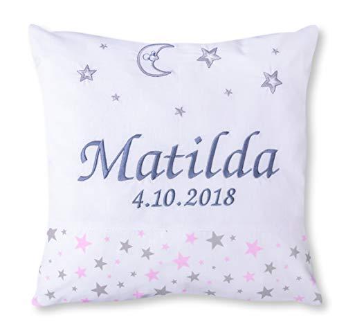 Amilian® Kissen 40 x 40 cm mit Namen Datum Sternchen KLEIN Rosa/Himmel