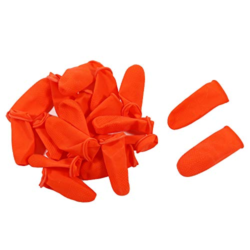 Disposable Latex Finger Cots 100pcs (Medium) Orange Anti-Slip, Anti-Static Rubber Fingertips Protective Finger Gloves for Electronic Repair, Painting, Jewelry Cleaning