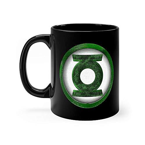 Celtic Green Lantern - Green Lantern Mug 11 oz Black Ceramic Cute Design Coffee Tea Mug Unique Gift For Men Women