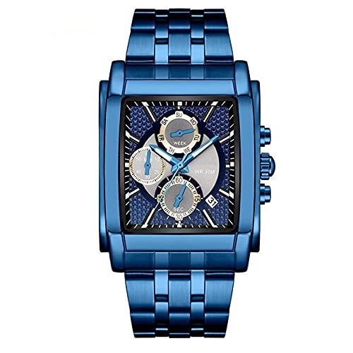 WNGJ Reloj Casual, Reloj Deportivo de Cuarzo Suizo para Hombres con Correa de Acero Inoxidable, Reloj de Moda multifunción Cuadrado Negro un Regalo imprescindible para Am Blue
