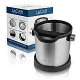 LACARI Abschlagbehälter | Espresso Abklopfbehälter für Siebträger aus Edelstahl | Robuster Abschlagbehälter für Siebträger | Spülmaschinenfest | Gummierte Unterseite | Kaffee Abschlagbox
