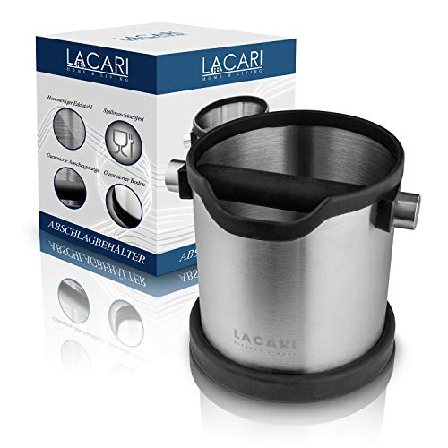 Lacari ® Abschlagbehälter - Perfekt Für Siebträgermaschinen - Hochwertiger Abklopfbehälter Aus Edelstahl - Abschlagbox zur Entsorgung von Kaffeesatz