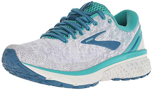 Brooks Womens Ghost 11 Running Shoe - White/Grey/Latigo - B - 11.5
