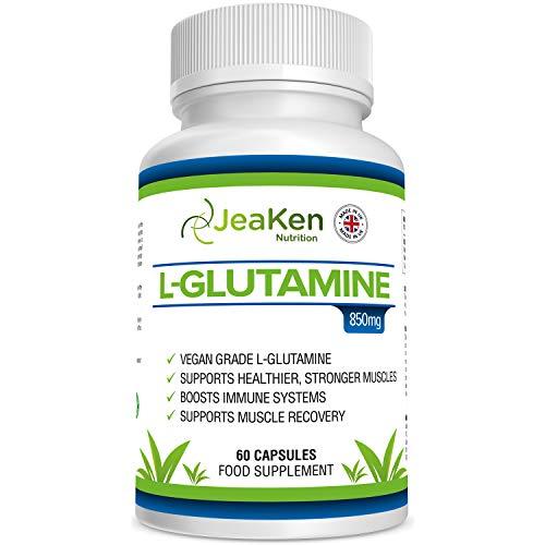 L GLUTAMINA CAPSULAS SIN GLUTEN - Suplementos para Ganar Masa Muscular y Recuperador Muscular - Glutamina Polvo Aminoacidos Esenciales para la Producción de Hormonas - 60 Proteina Vegana Cápsulas