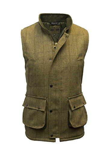 Walker & Hawkes, gilet in tweed derby da caccia, gilet country da uomo, color salvia chiaro Light Sage M