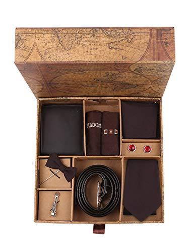 Blacksmith Striped Tie, Cufflink, Pocket Square, Socks, Lapel Pin, Tie Clip , Belt, Wallet, Set for Men (Maroon Polyester)