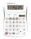Calculatrice de Bureau 10 Chiffres avec Écran Inclinable - Fonction basiques, mémoire et arrondi - Larges Touches pour Travail, Scolaire, Maison - Solaire & Piles - Blanche/grise - C210