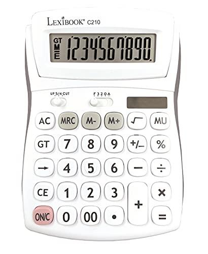 Calculadora de Oficina de 10 dígitos con pantalla plegable - Función básica y de memoria - Teclas y pantalla grandes para oficina, escuela, hogar - Solar y baterías - Blanco/Gris - C210
