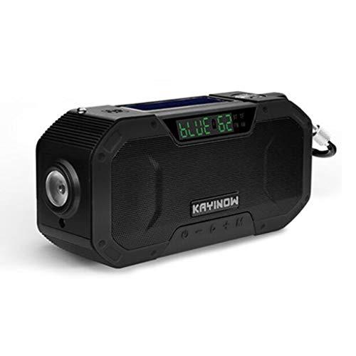 Multifunctional IPX6 waterproof portable Bluetooth speaker, Wireless solar generator radio with LED flashlight, AM FM-5000mAh hand crank mobile phone charger, SOS alarm, compass (Color : 2)