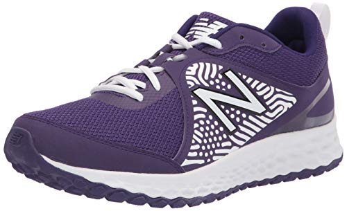New Balance Men's Fresh Foam 3000 V5 Turf Baseball Shoe, White/Purple, 9.5