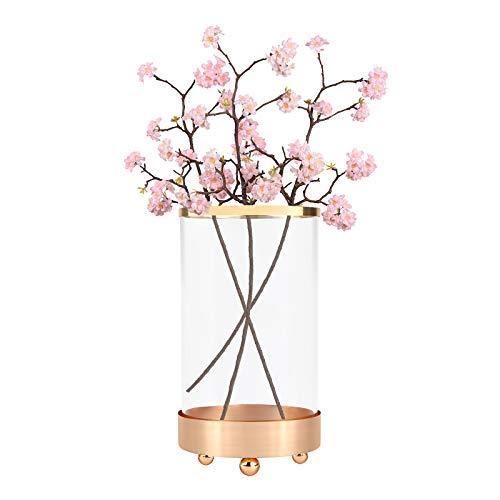 Vase à fleurs,Vases à fleurs en cristal Vase à fleurs au choix de 3 tailles avec base en métal Vase en verre cylindrique pour fleurs Vase à fleurs Bouquet pour Décoration de fête de mariage Medium