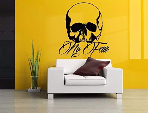 wandaufkleber 3d Wandtattoo Schlafzimmer Halloween-Schädel-Zitat keine Furcht-Schädel-Wandkunst-Grafik für Schlafzimmerwohnzimmer