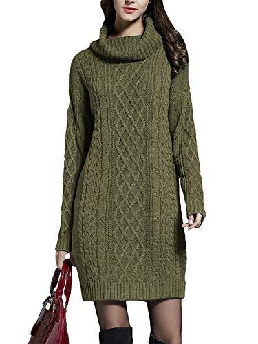 Onsoyours Damen Strickkleid Rollkragen Langarm Stretch Pullikleid Lang Strickpullover Elegant Minikleid für Winter Grün M