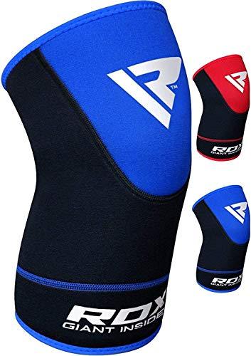 RDX Knieschoner/Kniebandage, Schutz und Unterstützung des Knies, für Boxen, MMA, Crossfit, Fitness (im Lieferumfang ist ein Schoner enthalten) L/XL schwarz / blau
