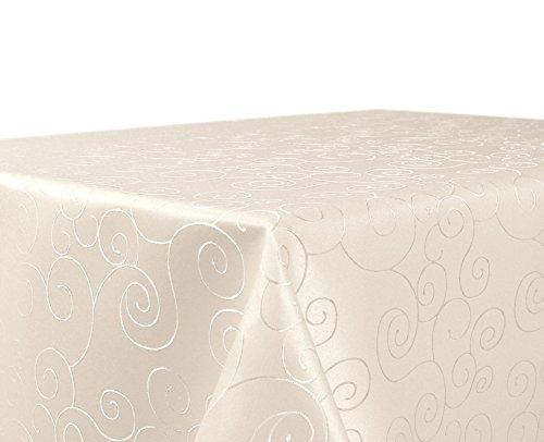 BEAUTEX Tischdecke Damast Ornamente - Bügelfreies Tischtuch - Fleckabweisende, Pflegeleichte Tischwäsche - Tafeltuch, Eckig 130x220 cm, Creme