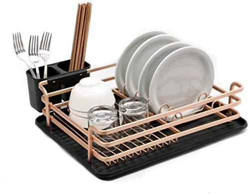 Raelf Champagne Gold Space - Estante de aluminio para platos de cocina, cubiertos con cesta de cubiertos y desagüe, tazas y tazas se secan al instante.