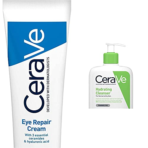 CeraVe Eye Repair Cream | 14 ml/0.5 oz | Eye Cream for Dark Circles & Puffiness & Hydrating Cleanser | 236ml/8oz | Daily Face & Body Wash for Normal to Dry Skin