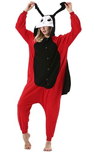 Pijama Animal Entero Unisex para Adultos con Capucha Cosplay Pyjamas Mariquita Ropa de Dormir Traje de Disfraz para Festival de Carnaval Halloween Navidad