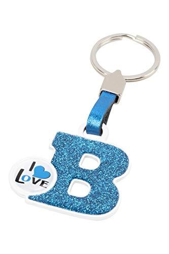 BCCORONA LLA02002 Metallischer Schlüsselanhänger I Love Buchstabe B Blau Farbe