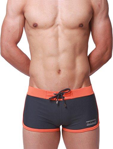Ateid Herren Badehose Kurze Schwimmhose Boxer Badepants, Grau XL