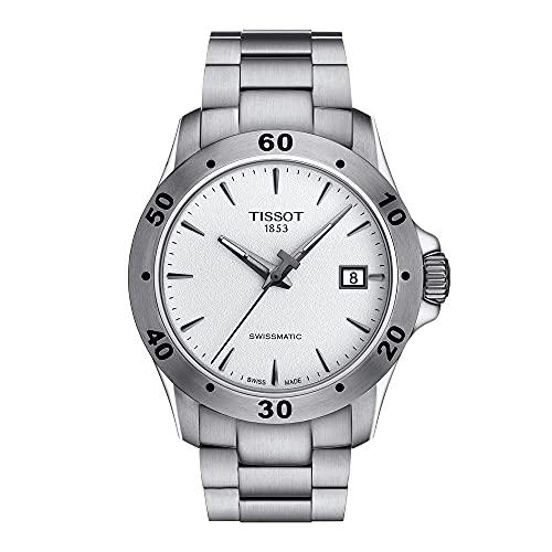 Tissot Men's V8 Swissmatic 316L Stainless Steel case Swiss Automatic Watch Strap, Grey, 22 (Model: T1064071103101)