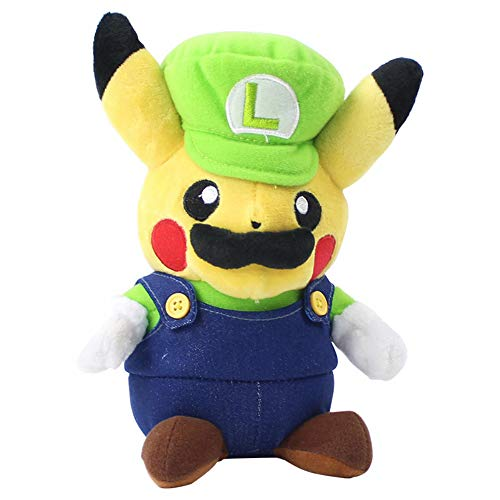 nanyin Super Mario Bros Luigi Pikachu Muecas De Peluche Pikachu Cosplay Luigi Muecas De Peluche 23Cm
