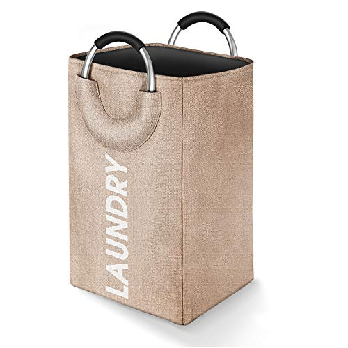 JOMARTO Laundry Basket Linen Built-in Lining Collapsible Fabric Laundry Hamper with Ring Aluminum Handle for Easy Carry Portable Washing Bin Folding Clothes Bag Travel Shopping Bathroom Beige