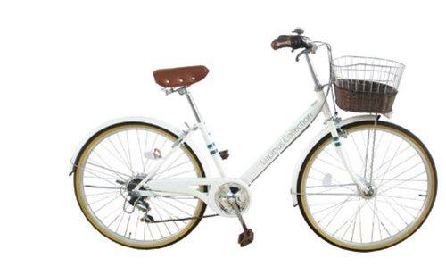 Lupinusルピナス 自転車 26インチ LP-266VA-WH シティサイクル Vフレーム 籐風カゴ オートライト ホワイト