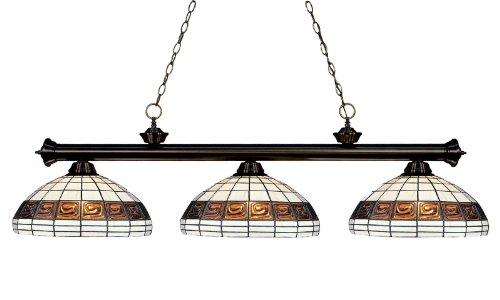 Big Sale Best Cheap Deals Z-Lite 100703BRZ-F14-1 3 Light Billiard, Multi Color Tiffany