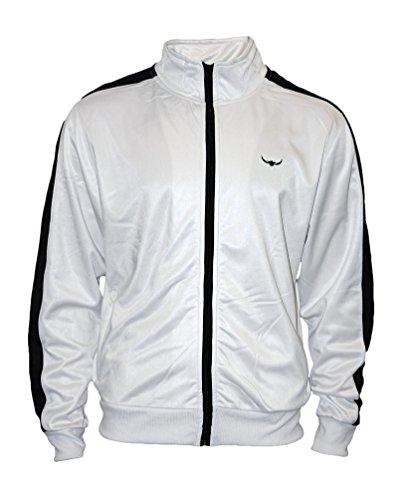 ROCK-IT Apparel® Herren Track Jacket - stylische und hochwertige Retro Style Trainingsjacke - Tracktop - Sweater Jacke - Größen S-XXXL - Farbe Weiß Schwarz XXL