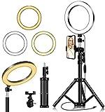 Thlevel Luz de Anillo LED 7.9' con Trípode 3 Modos 10 Brillos Regulables Anillo de Luz con Soporte de Teléfono para Selfie, Maquillaje, Youtube, TIK Tok