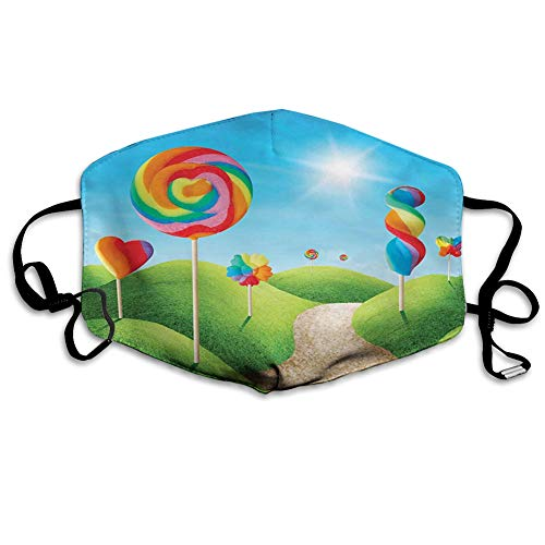Multifunctional face Protective Cover,Fantasy Candy Land with Delicious Lollipops and Sweets Sun Cheerful Fun Print,Printed Reusable Unisex Face Decorations. Personal Protection