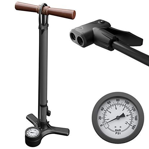 HiLo sports Luftpumpe Fahrrad alle Ventile mit Dual Kopf - 11 Bar / 160 Psi Manometer Fahrradpumpe - Standpumpe Fahrrad mit Holz Griff - Pumpe Fahrrad (metallic grau)