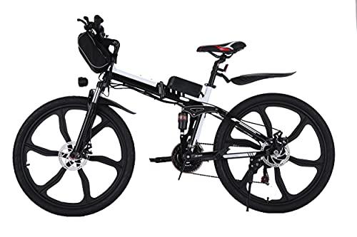 WIND SPEED Bici Electrica Plegable E-Bike 26 Pulgadas con Batería de 36V 8Ah, 21 Velocidades Bicicleta de Montaña Eléctrica Adultos