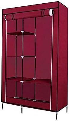 ANVA Foldable Wardrobe Cabinet Almirah 105x45x170 cm (Wine RED)