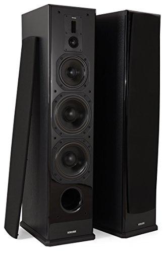 Dynavoice Definition DF-8 Black - Coppia Diffusori Acustici da Pavimento 3 Vie Bass Reflex per Hi-Fi e Home Cinema. Cabinet in legno MDF rinforzato con frontale laccato lucido. Tweeter doppio a nastro + cupola e Woofer in Kevlar. Sistema X-Change per regolazione db medio/alti.
