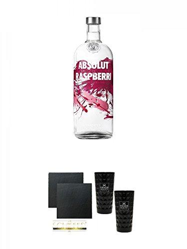 Absolut Vodka Raspberry 1,0 Literflasche + Schiefer Glasuntersetzer eckig ca. 9,5 cm Ø 2 Stück + Three Sixty black Vodka Glas 2 Stück (black)