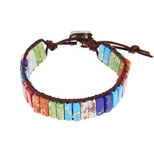 OTOTEC Pulsera de chakras de 7 colores hecha a mano con cuentas de piedra de chakra natural, cuerda de cuero auténtico, hecha a mano, 23 cm, longitud total de una sola capa, para mujeres y niñas