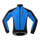 N/V Chaqueta de ciclismo para hombre, de invierno, transpirable, resistente al viento, impermeable, con forro polar, cálida y reflectante, para correr, senderismo y montaña. azul L