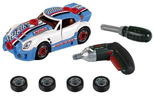Theo Klein 8668 Set de tuneado Bosch, Coche desmontable con accesorios de tuneado, Con destornillador eléctrico Ixolino a pilas, Medidas: 20.5 cm x 9.5 cm x 6 cm, Juguete para niños a partir de 3 años