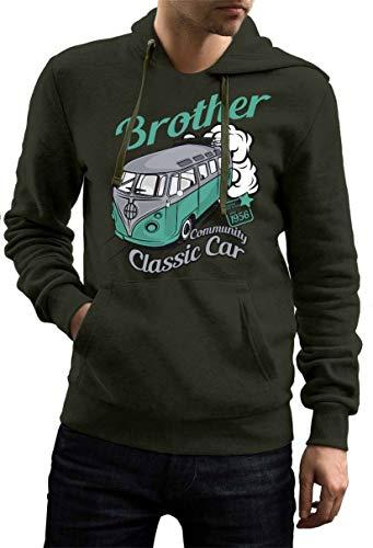 Rebel on Wheels Herren Hoodie Sweatshirt mit Kapuze Kapuzen-Pullover mit Motiv Bedruckt Streetwear Auto Bus Bulli T1 Klassik Car Oliv L