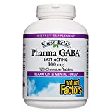 Stress-Relax Chewable Pharma GABA 100 mg by Natural Factors, Non-Drowsy Stress Support for Relaxation and Mental Focus, Tropical Fruit Flavor, 120 tablets (60 servings)